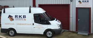 RKB Carpentry and Locksmiths van and workshop